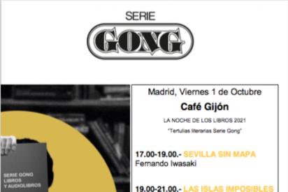 Serie Gong en La Noche de los Libros 2021 con tres de sus escritores en el Café Gijón de Madrid