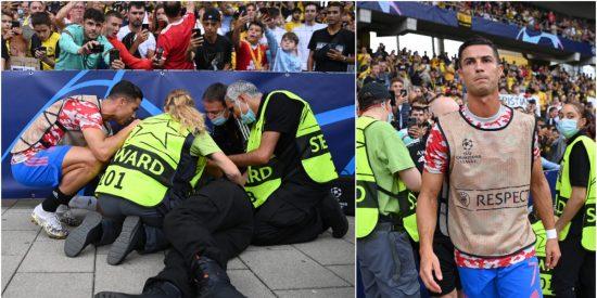 Champions: Cristiano Ronaldo noquea de un balonazo a una mujer del equipo de seguridad