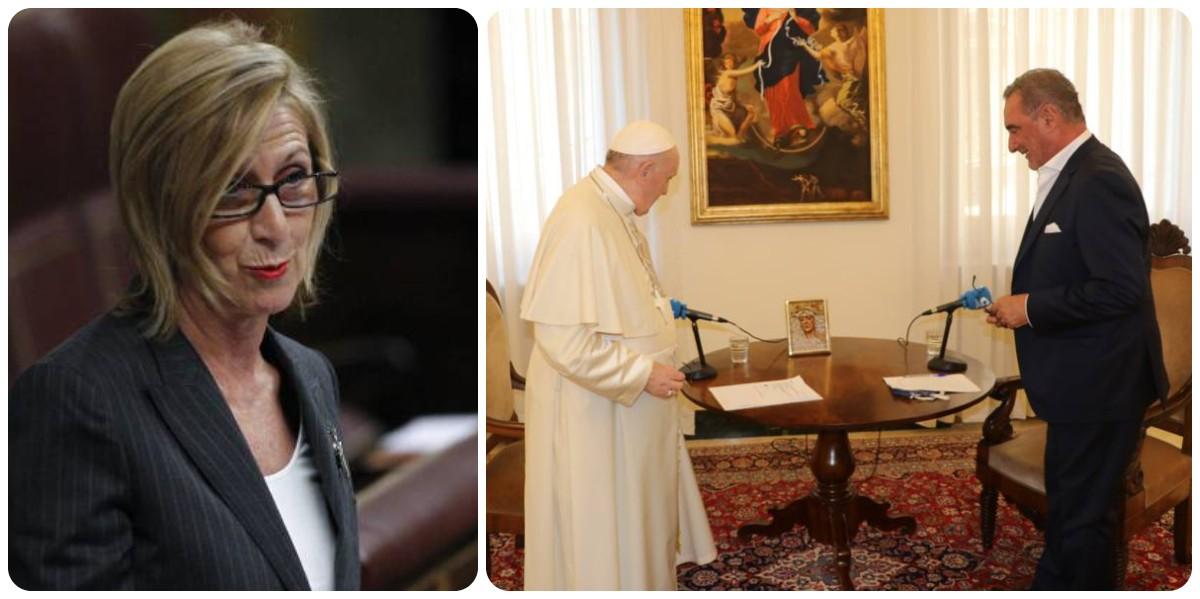 """Rosa Díez crucifica al Papa Francisco por su """"mensaje ponzoñoso"""" contra España"""