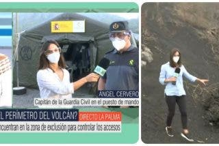 La Guardia Civil abronca a una reportera de Telecinco por saltarse el perímetro de seguridad del volcán de La Palma