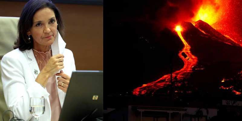 """La ministra Reyes Maroto: """"El volcán de La Palma es un espectáculo maravilloso que atrae turismo"""""""