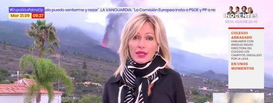 Impactante foto de Susanna Griso en el volcán ridiculiza la labor informativa de Antena 3 en La Palma