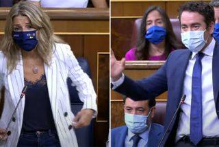 """García Egea avergüenza a Yolanda Díaz con las groserías podemitas: """"¡Lo que tienen que hacer es callarse todos!"""""""