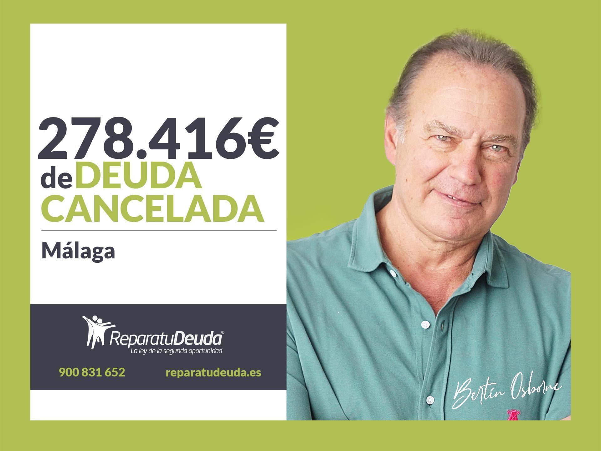 Repara tu Deuda Abogados cancela 278.416€ en Málaga (Andalucía) con la Ley de Segunda Oportunidad