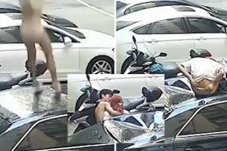 La chica cae del balcón donde practicaba sexo y se estampa contra un coche