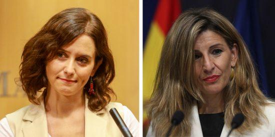 Isabel Díaz Ayuso (PP) da una lección a Yolanda Díaz (Podemos) por presumir de la caída del paro