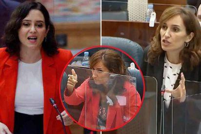 """Ayuso frena en seco a una rabiosa Mónica García: """"Usted es la primera que señala a punta de pistola en este Parlamento"""""""